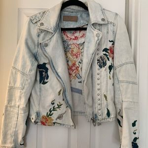 Blank NYC Floral Embroidered studded denim jacket